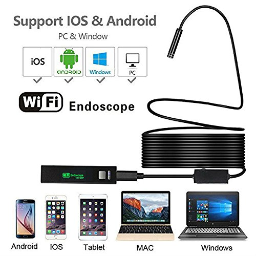 Winnes WiFi Endoscope, 1200P Wireless Borescope Inspection Camera Snake Neck IP68 Waterproof 2.0 Megapixel HD with Adjustable 8 LEDs for Android and iOS Smartphone, Tablet, PC (7 M)