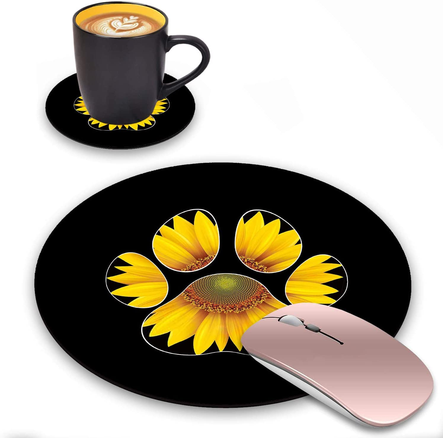 ZOXOHO Round Mouse Pad and Coasters Set, Dog Paw Sunflower Design Mouse Pad, Non-Slip Rubber Base Mouse Pads for Laptop and Computer, Cute Design Desk Accessories