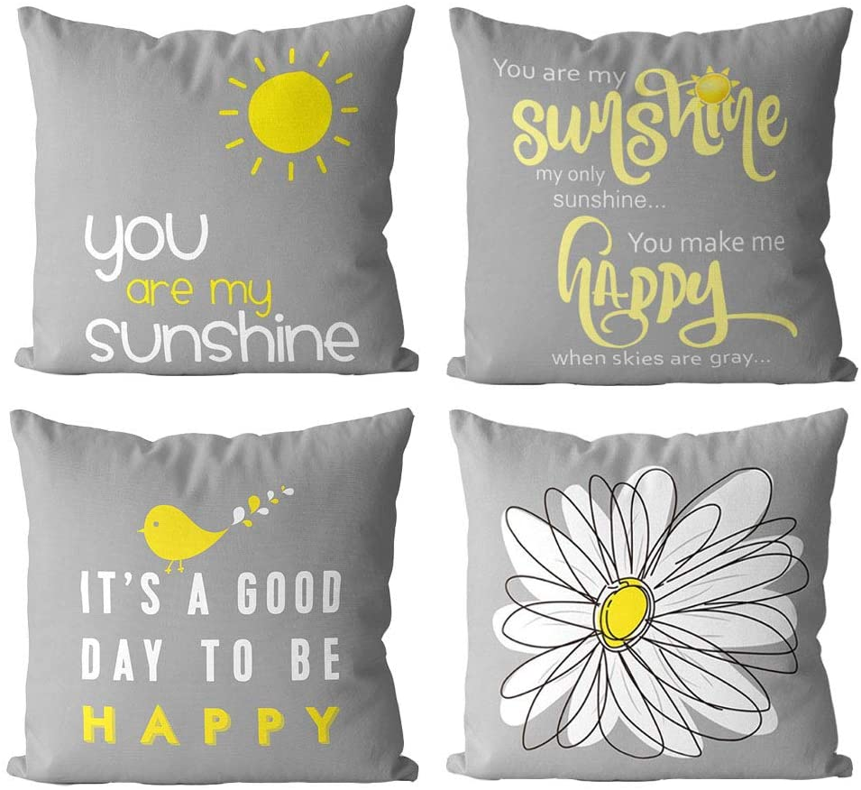 1758studio Sunflowers Pillow Covers 18x18,Set of 4 Decortive Velvet Sunshine Sunflowers Sofa Throw Pillow Case with Zipper, Elegant Gray Cushion Covers for Couch Bed