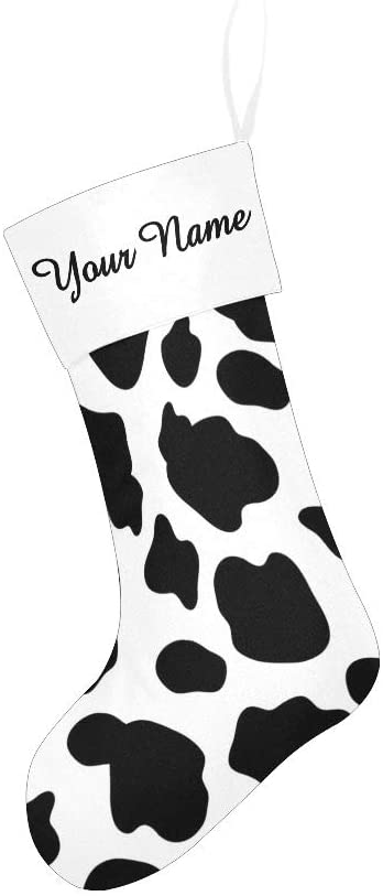 CUXWEOT Christmas Stocking Custom Personalized Name Text Cow Skin Black and White for Family Xmas Party Decor Gift 17.52 x 7.87 Inch