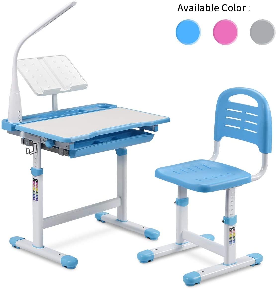 LINKLIFE Kids Functional Desk and Chair Set, Height Adjustable Children School Study Desk with Tilt Desktop, Bookstand, Pencil Case,LED Light, Metal Hook and Storage Drawer for Boys Girls (Blue)…
