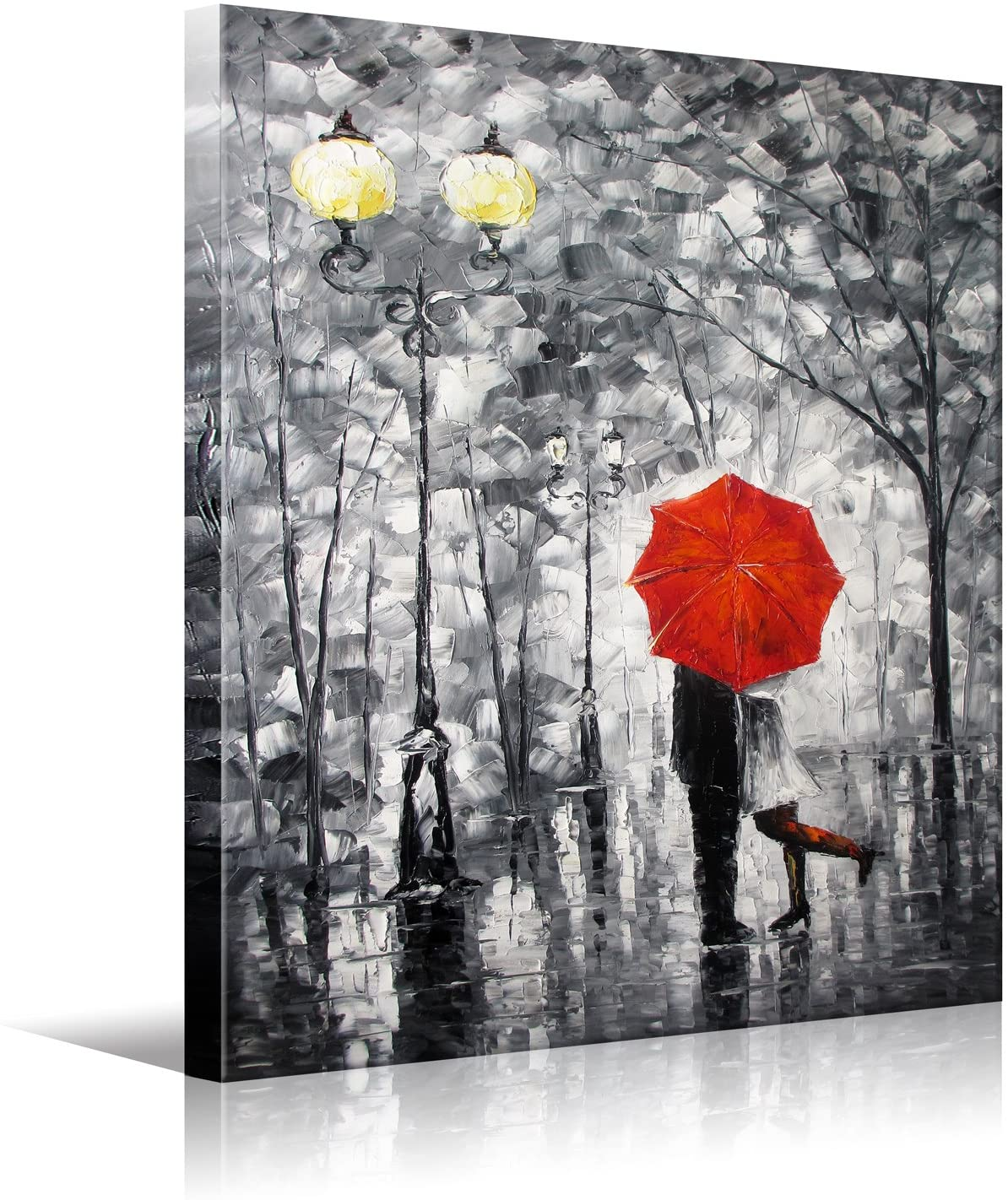 HD Prints on Canvas Art Lovers Kiss Under The one Umbrella Wooden Framed Wall Art,Black White Red etc 12x16 inch(30x40cm) 1pc