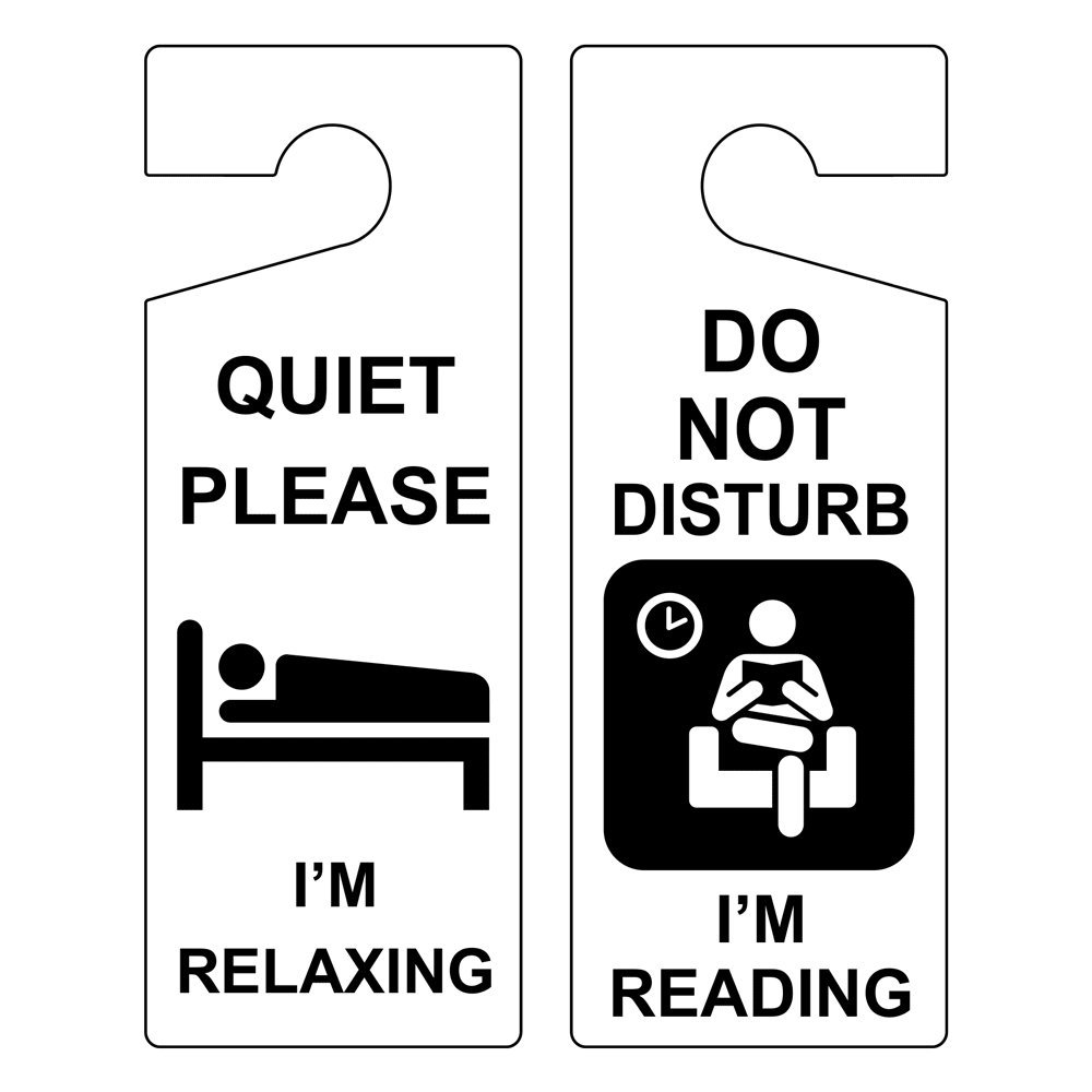 Quiet Please I'm Relaxing - Do Not Disturb I'm Reading Door Hanger Sign, 8x3 inch Plastic for Dining/Hospitality/Retail by ComplianceSigns