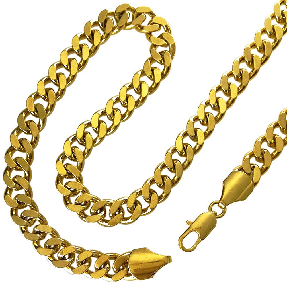 Fashion kimi2 N227a-18ct Gold Filled Cuban Link Chain Necklace for Men 9mm Width