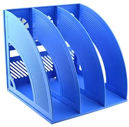 SAYEEC Magazine File Holder Folder Plastic Storage Desktop 3 Compartment Hollow File Bookshelf Organizer Standing Frame Office Racks Display Notebooks Documents Blue File Holder for School/Working