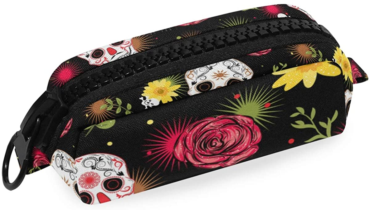 Dead Skulls Big Capacity Pencil Pen Case Bag Pouch Holder for Middle High School Office College Girl Adult Large Storage