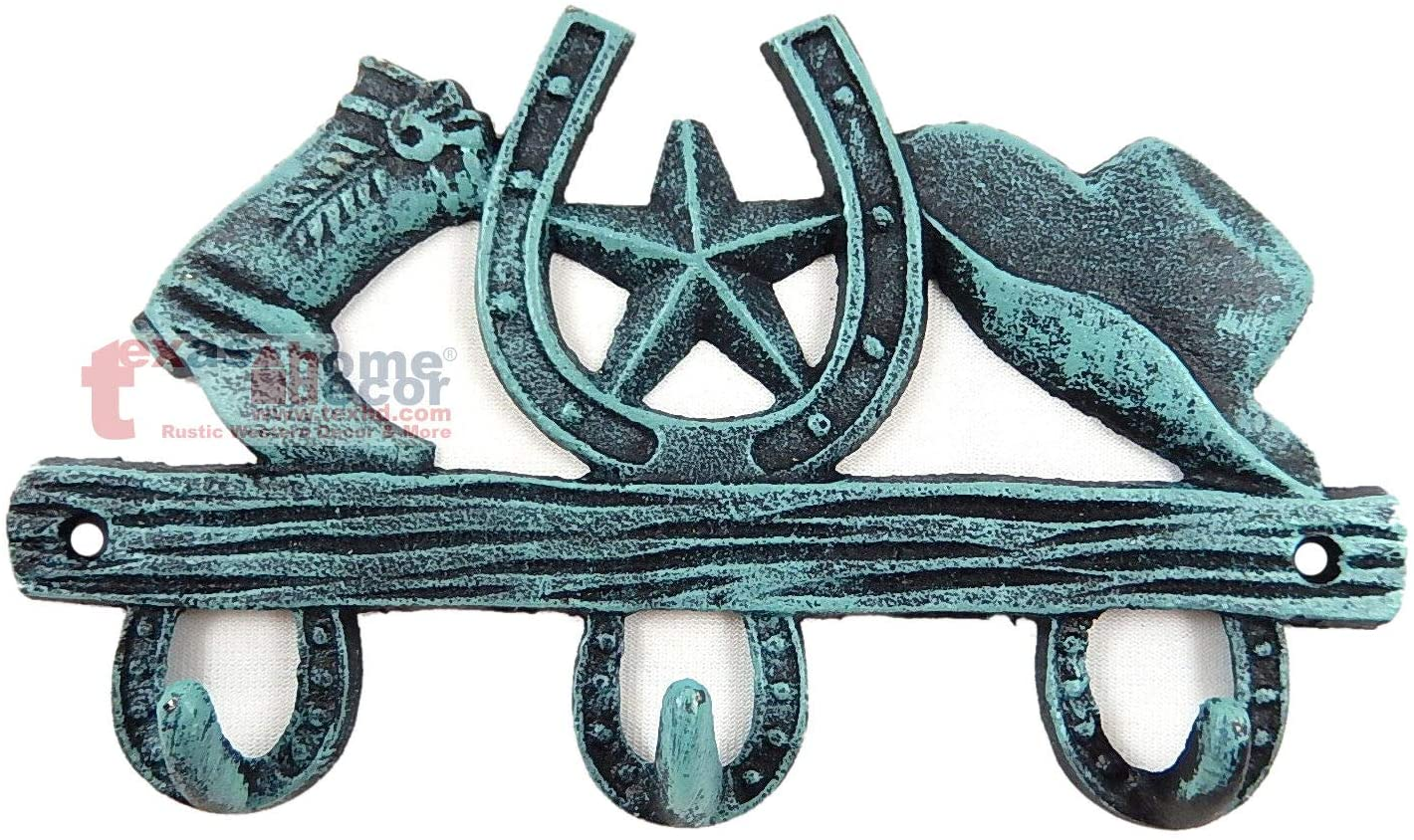 Antiques - Vintage - Hooks on The Wall for a Bathroom - Locker Rooms - Kitchens Small Turquoise Rustic Western Key Holder Hat Horseshoe Boot 3 Hooks Cast Iron