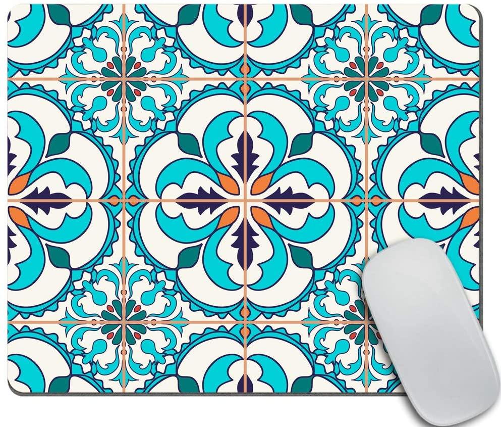 Amcove Mouse Pad Portuguese Tile Print Office Gift Mouse Mat Moroccan Tile Mouse Pad Mediterranean Print Mousepad Mousemat Desk Accessories