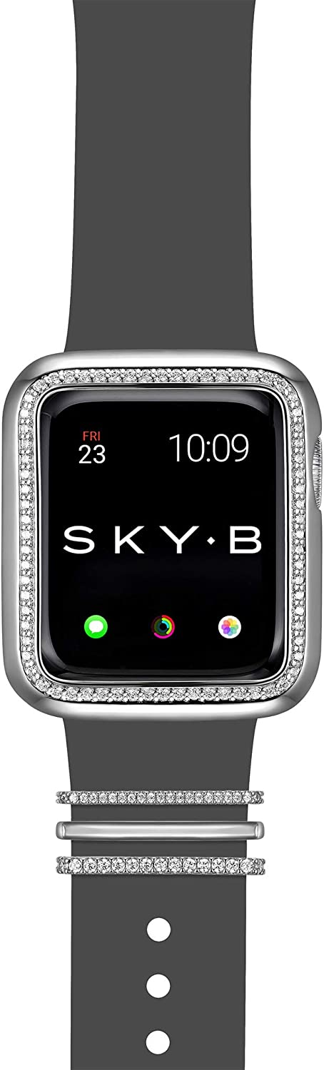 SKYB Halo Apple Watch Case with Milan Watch Band Charms and Silicone Sports Band Set - Rhodium Plated with Cubic Zirconia for 42mm Apple Watch Series 1,2,3