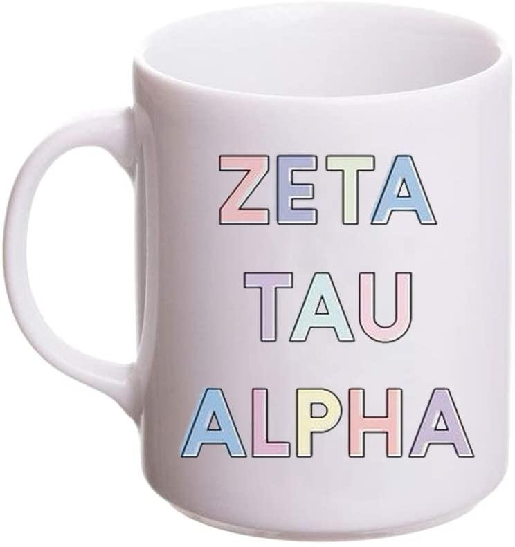 Zeta Tau Alpha ZTA Pastel Mug White