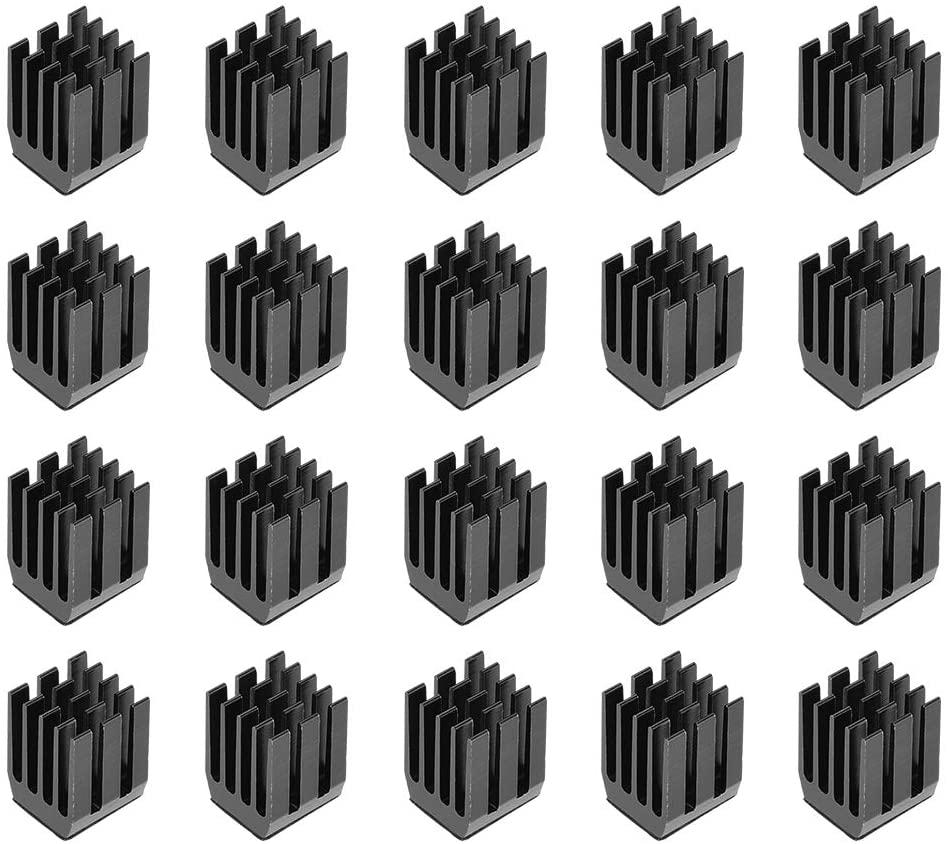 uxcell 12x9x9mm Black Aluminum Heatsink Self Adhesive Pad Cooler for Cooling 3D Printers 20Pcs