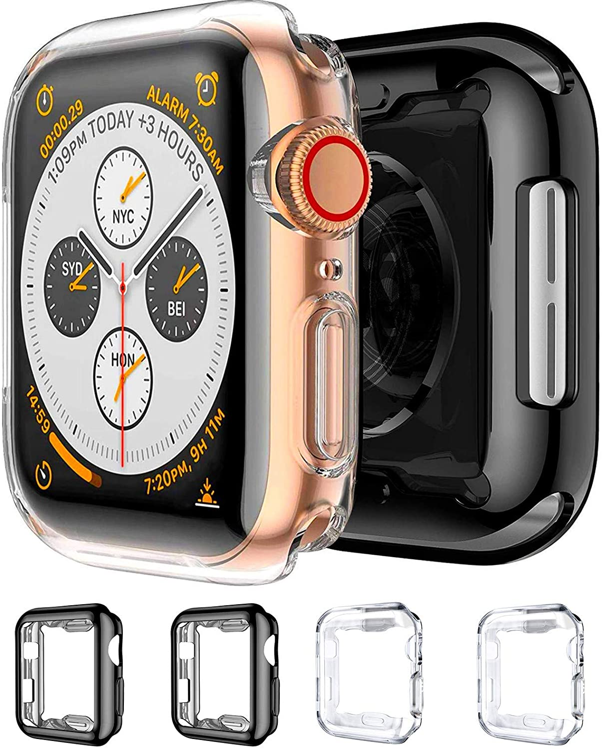 Mocodi 4-Pack Apple Watch Case 44mm with Built-in Clear Soft TPU Screen Protector Cover Bumper Shell Accessories for Apple Watch Series 4 & Series 5 & Series 6 and Apple Watch SE 44mm(Black +Clear)