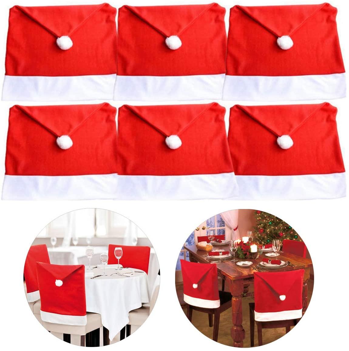 StyleZ 6PCS Santa Hat Chair Covers Chair Back Decoration Christmas Festive Home Dinner Table Kitchen Party Decor