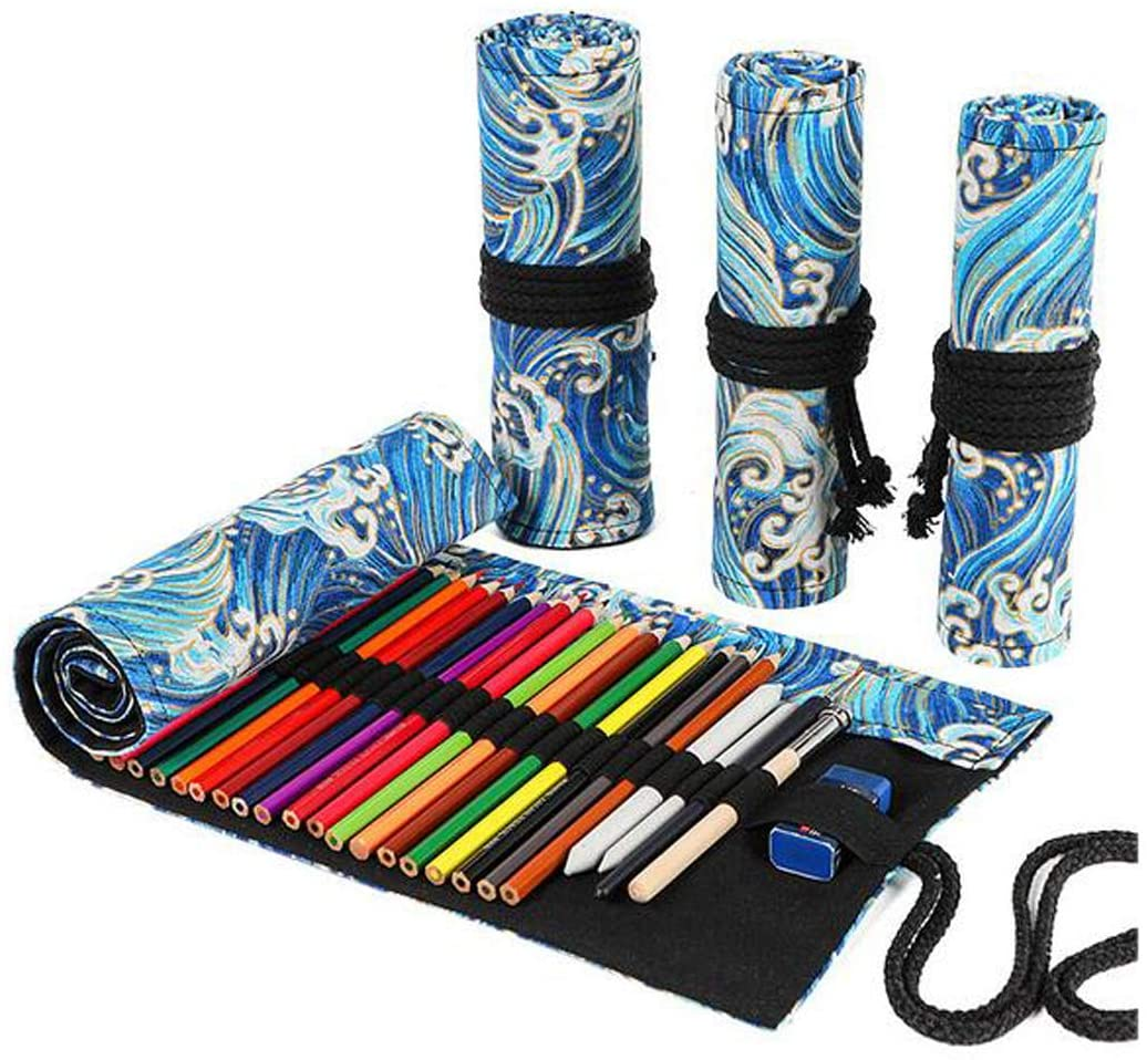 FZBNSRKO Colorful Print Pencils Case Wrap,Travel Portable Roll Up Canvas Pencil Storage Organizer Holder for Artist Adult Coloring Books with 48 Slots,Holiday Gifts(Gold Blue Sea)