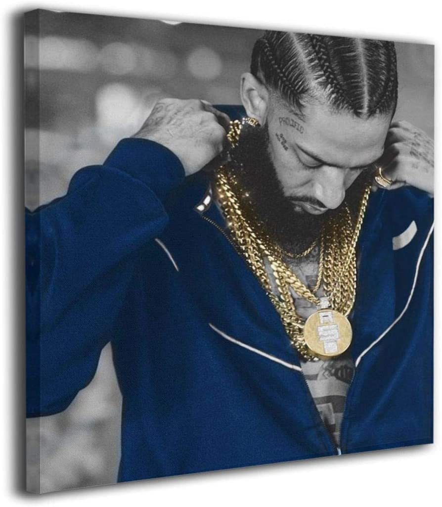 Sadfqw Nipsey-Hussle Modern Framed Wall Art Giclee Wall Decor On Canvas Stretched and Framed Prints Artwork Office Home Decorations Ready to Hang 20X20
