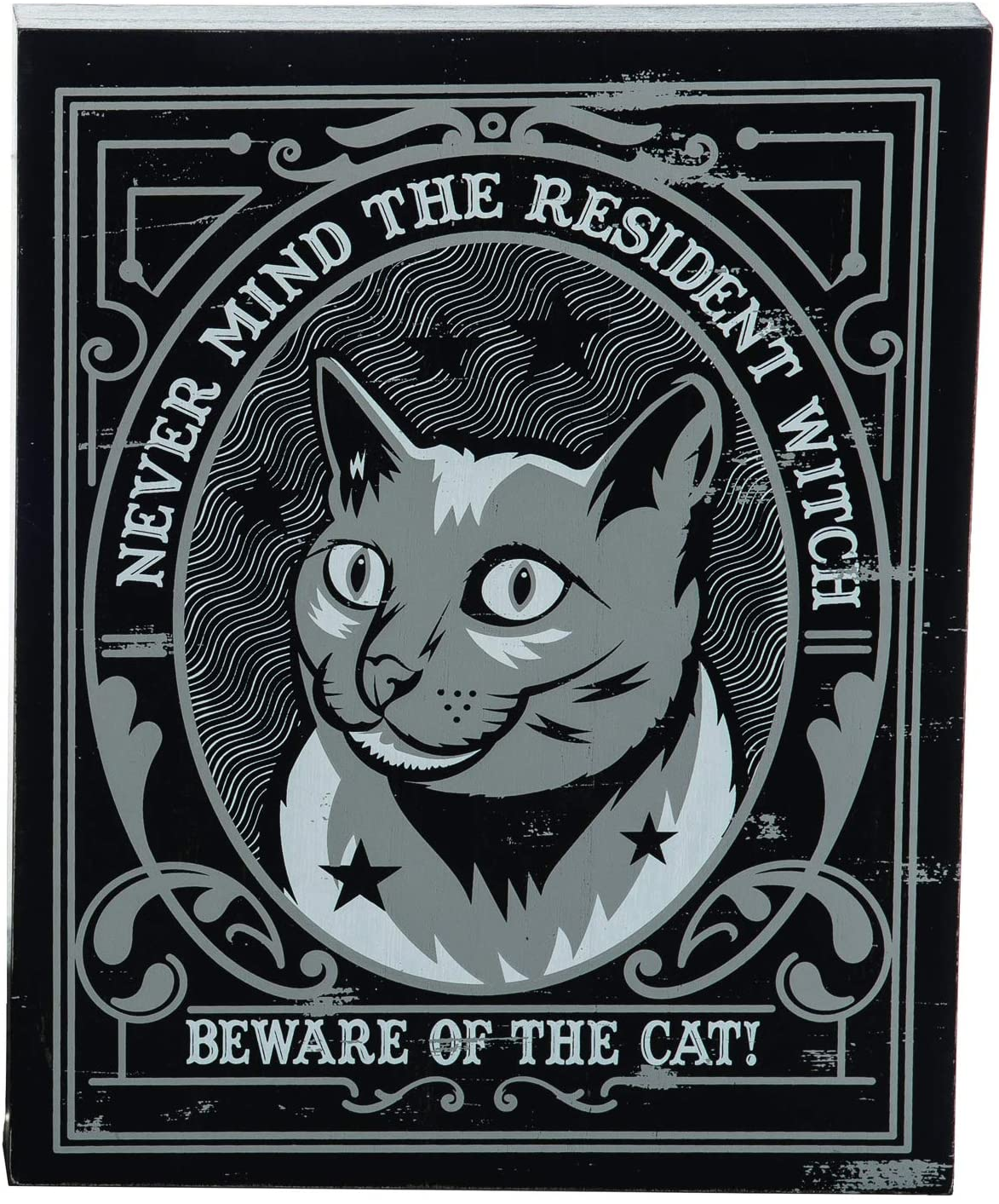 One Holiday Way Spooky Black and White Modern Block Sign – Halloween Tabletop Decoration (Cat)