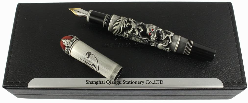 Jinhao Luxury Ancient Chinese Ming Dynasty Emperor Style Dragon Play Red Jade Pearl Fountain Pen with Gift Box, Black