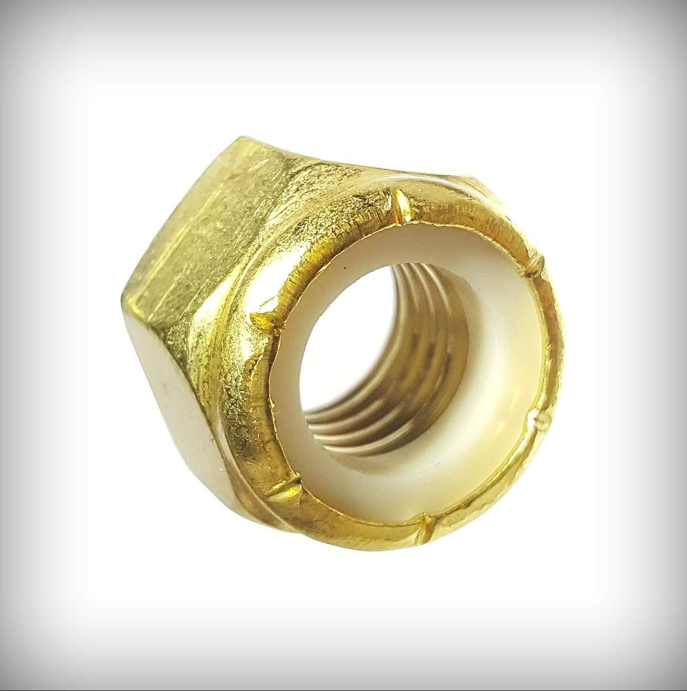 New Lot of 2500 Pcs 10-24 Solid Brass Hex Locknut Nylon Insert Elastic Stop Lock Nuts Set #Lig-2910NG Warranity by Pr-Mch
