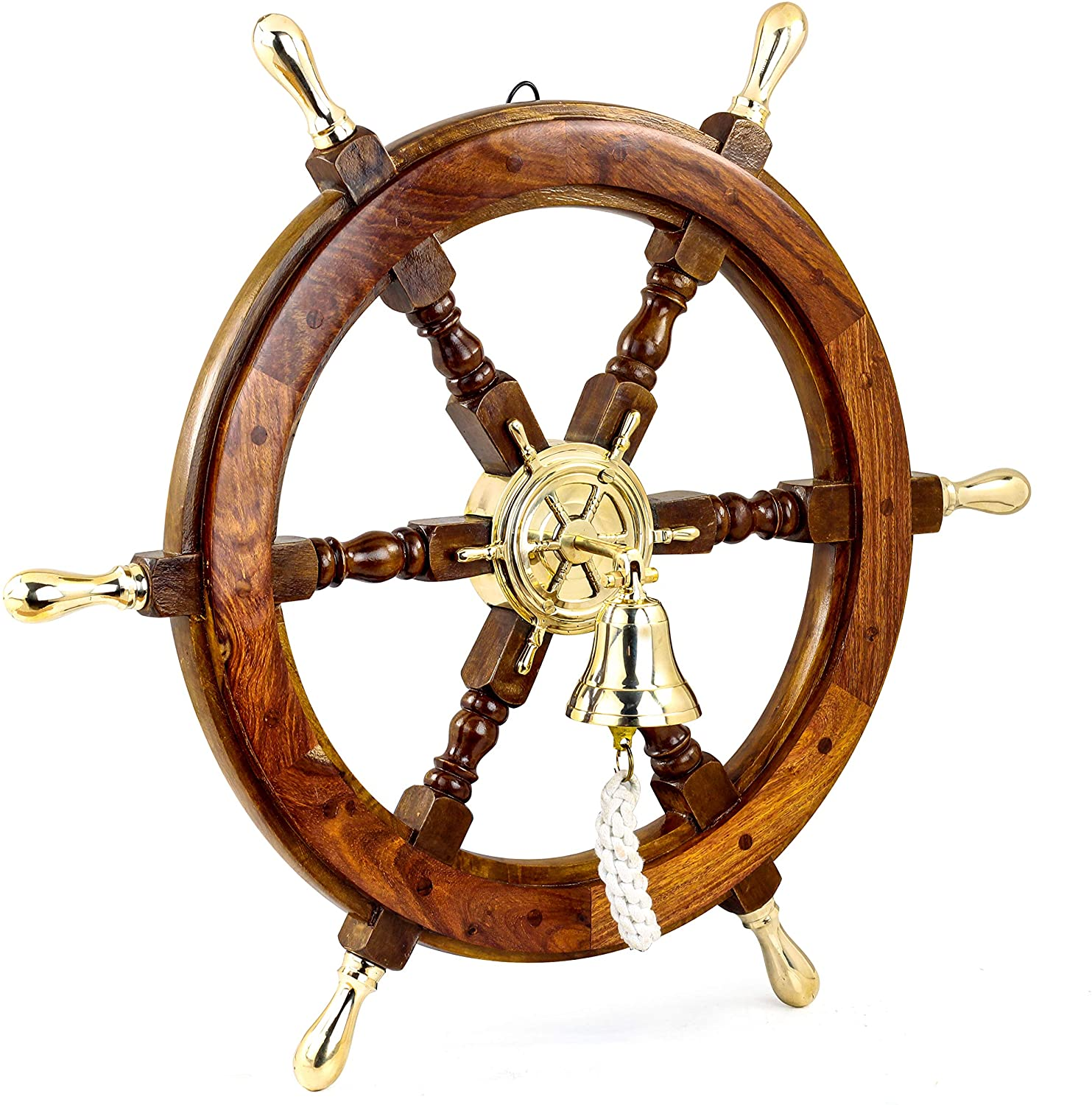 Nagina International Nautical Polished Brass Handle Ship Wheel with Bell | Beach Decor Gift | Pirate's (60 Inches)