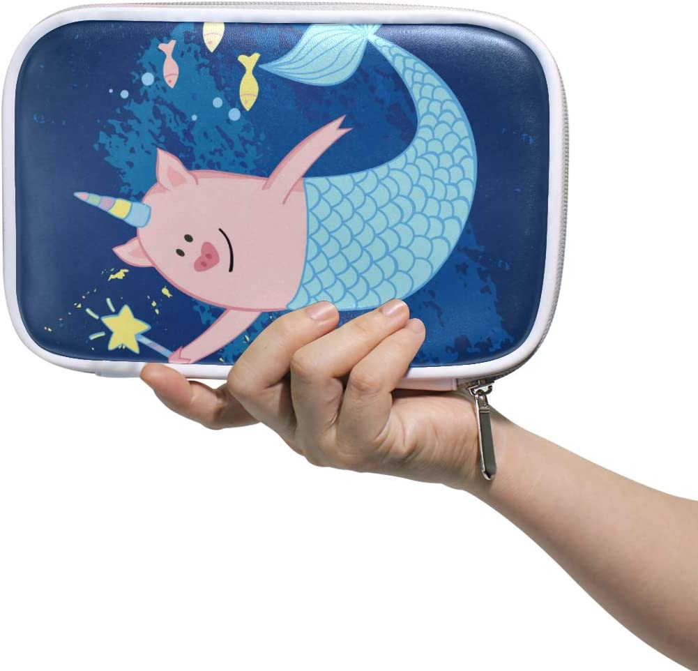 Pencil Case Cute Pig Mermaid Unicorn Multi-Functional Pen Box for Kids Boys Girls School Cosmetic Makeup Bag Passport Holder Travel Organizer Bag