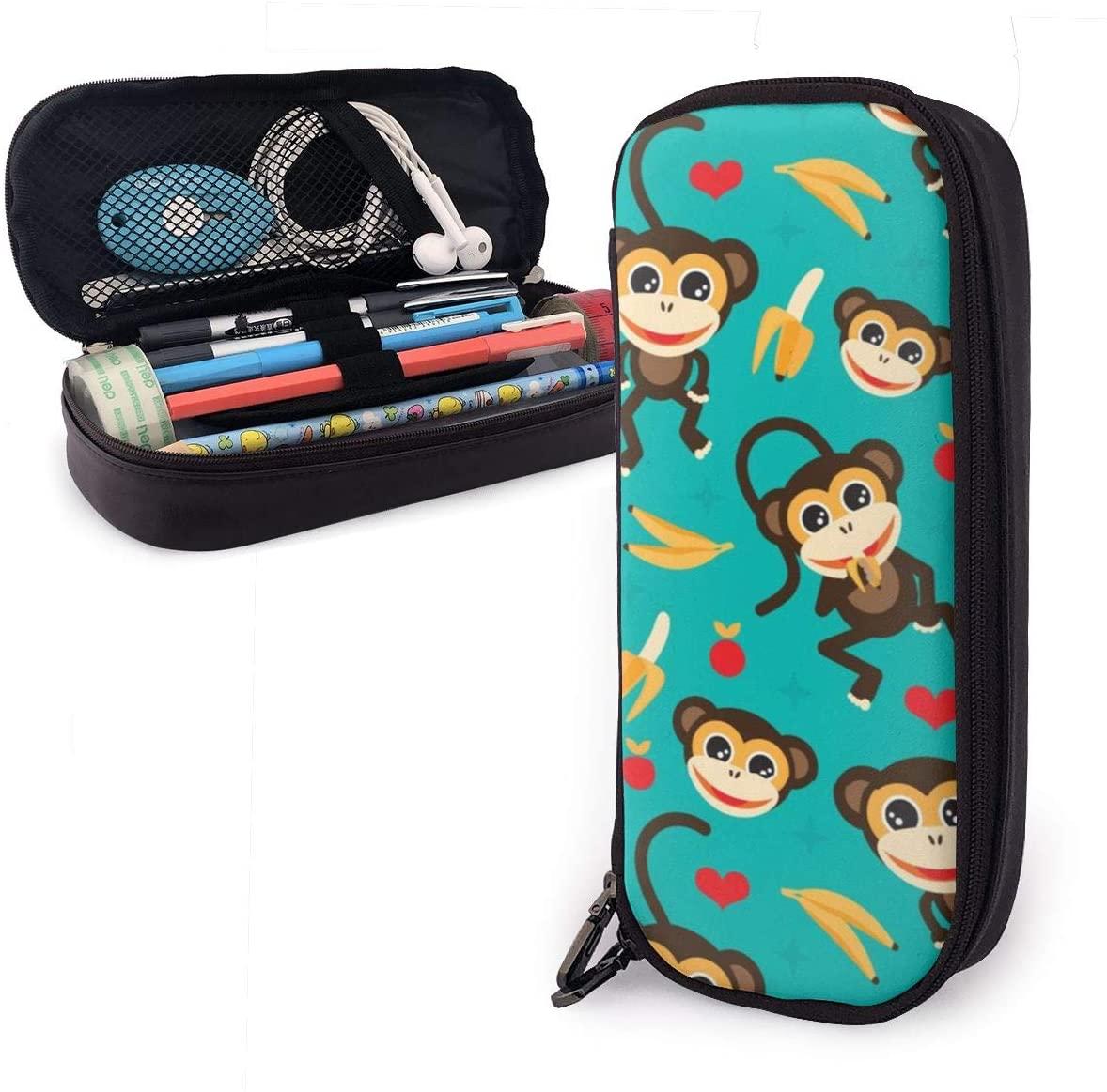NiYoung Women Men Big Capacity Pencil Case Pen Holder Pouch Desk Organizer Bag with Zipper Durable Stationery Bag for School Supplies Office Stuff (Monkey Love Banana)