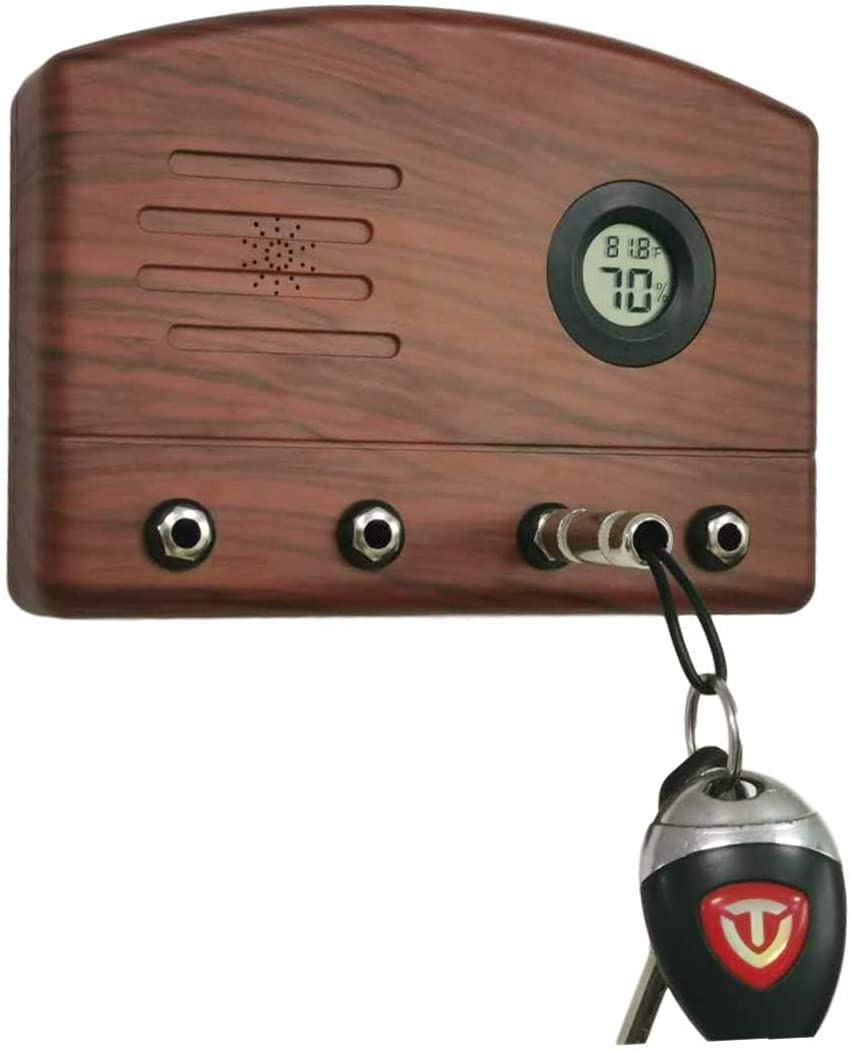 Key Rack I- Wall mounting Radio Speaker Key Hanger. Includes 4 Guitar Plug Key Chains 1 Wall mounting kit 1 Double-Sided Tape and 1 Temperature Hygrometer