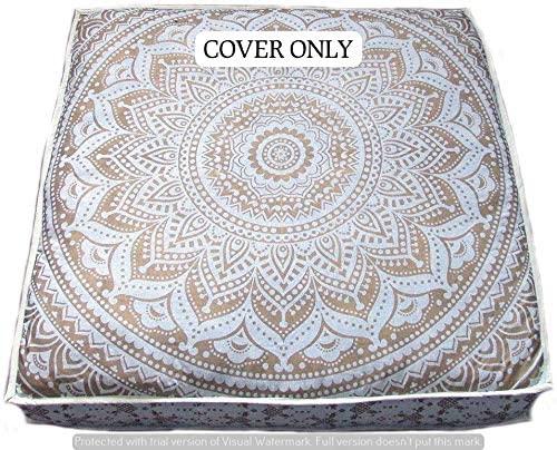 GANESHAM Indian Seating Dog Bed Boho Floor Pillow Bohemian Tapestry Handmade Pouf Ottoman, Mandala Cotton Cushion Cover Throw pet beds Children Bedding Pouf cat Bed Boho Decor (White Ombre)