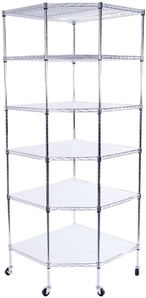 Azadx 6 Tiers Corner Shelf, Adjustable Metal Storage Wire Shelving Unit Corner Rack Corner Shelving, Free Standing Corner Storage Rack Display with Wheels for Living Room, Bathroom, Kitchen (Silver)