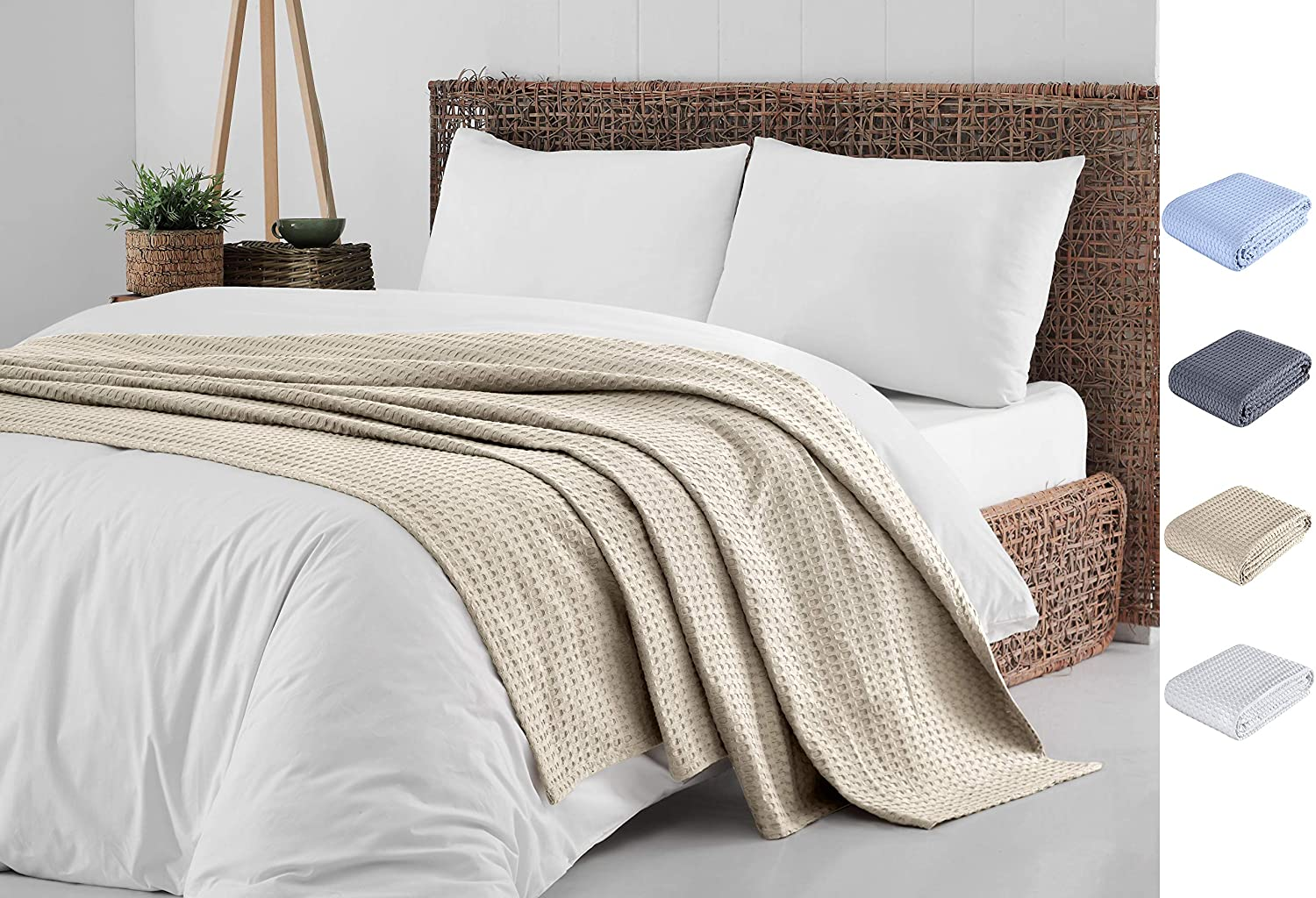 Cotton Blanket Full/Queen Size Khaki |%100 Turkish Premium Soft Breathable Cotton | Thermal Queen Blanket | Perfect for Layering Any Bed for Summer - Winter | Cotton Blankets Queen Size - Bed Throw