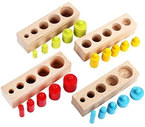 Danni Montessori Kid Matching Toys Colorful Socket Cylinder Set Beech Wood Multicolor Blocks Early Educational Math Teaching Toys
