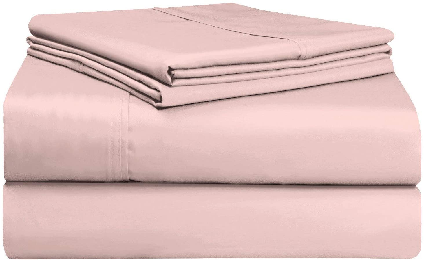Pizuna 400 Thread Count Cotton Queen Sheets Set Rose Pink, 100% Long Staple Cotton Soft Sateen Bed Sheets with Stylish 4 inch Hem, fit Upto 15 inch Deep Pocket (Rose Pink 100% Cotton Queen-Size Sheet)