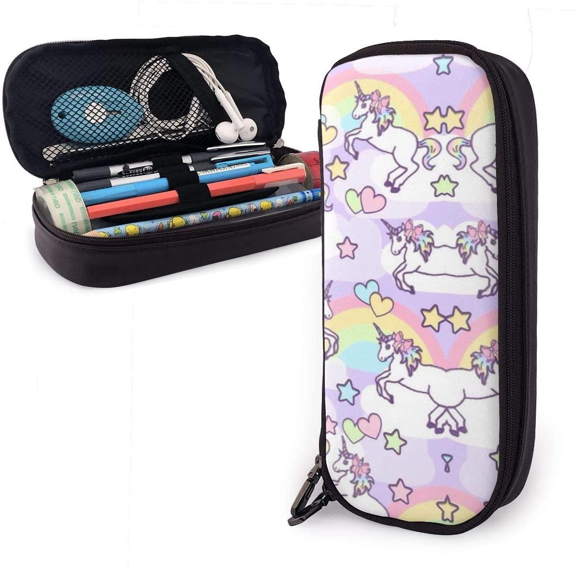 XUJ YOGA Big Capacity Pencil Case Bag Pen Pouch Holder Large Storage Stationery Organizer for School Supplies Office College (Rainbow Unicorn Heart)