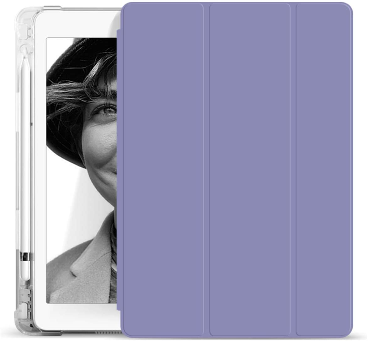 KenKe New iPad 9.7 2018/2017 Case with Pencil Holder, Smart Trifold Stand Case with Shockproof Lightweight Protective Soft TPU Back Cover with Auto Sleep/Wake for iPad 6th/5th Generation (Purple)
