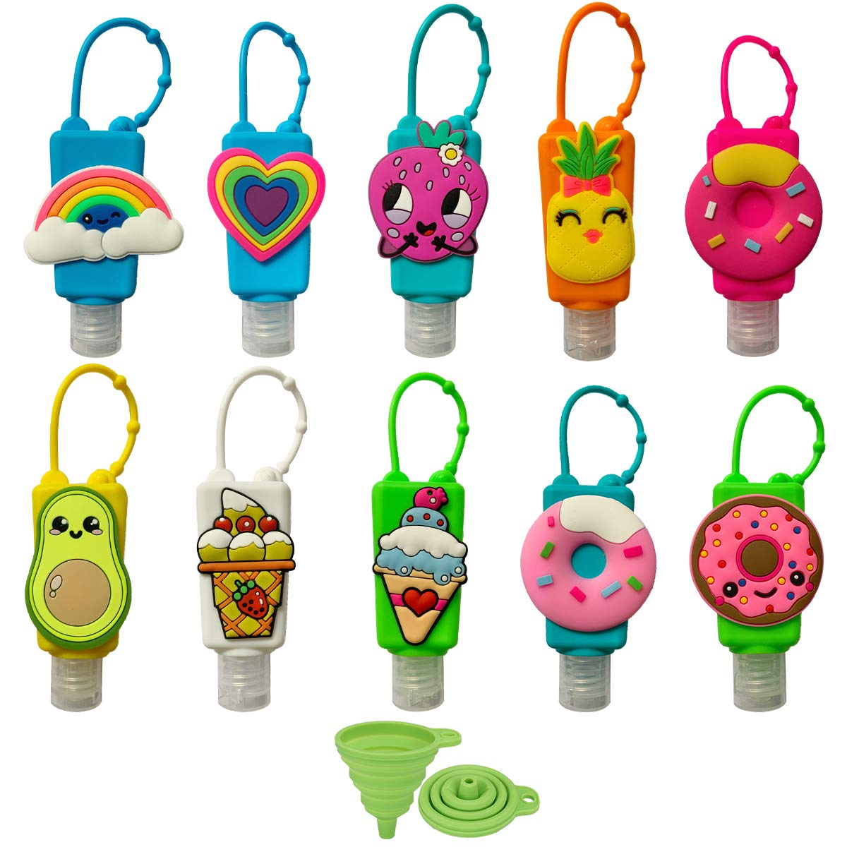 Crenics 10 Pack Mini Cute Cartoon Travel Bottles with Keychain Silicone Detachable Holder, 30ml/1oz Empty Clear Plastic Containers Assorted Pattern Kids Leakproof Travel Bottles(Random Color)
