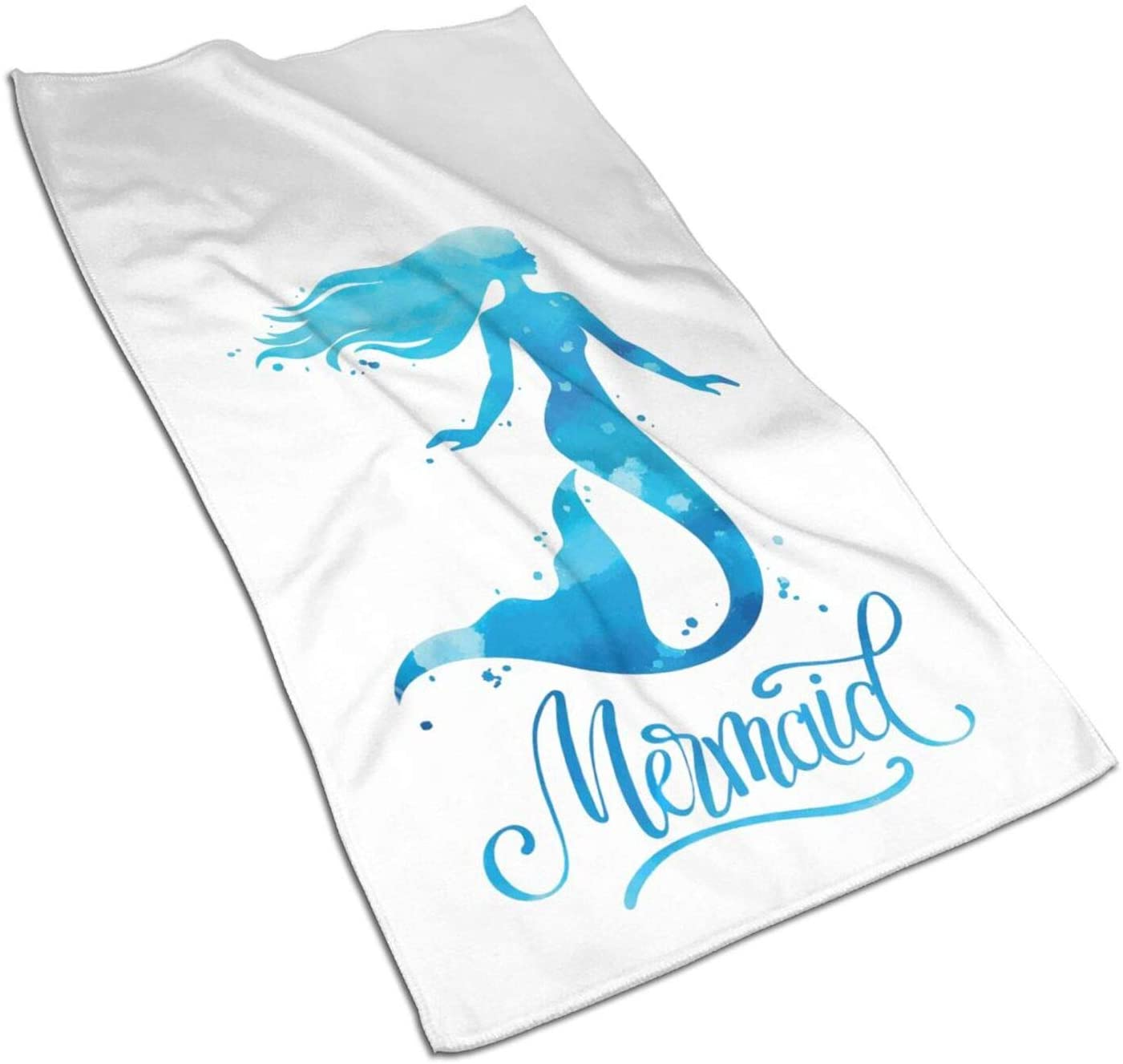 Hand Towels, Watercolor Mermaid Kitchen Towels Microfiber Terry Dish Towels for Drying Dishes and Blotting Spills,Dish Towels for Your Kitchen Decor,27.5x15.7in