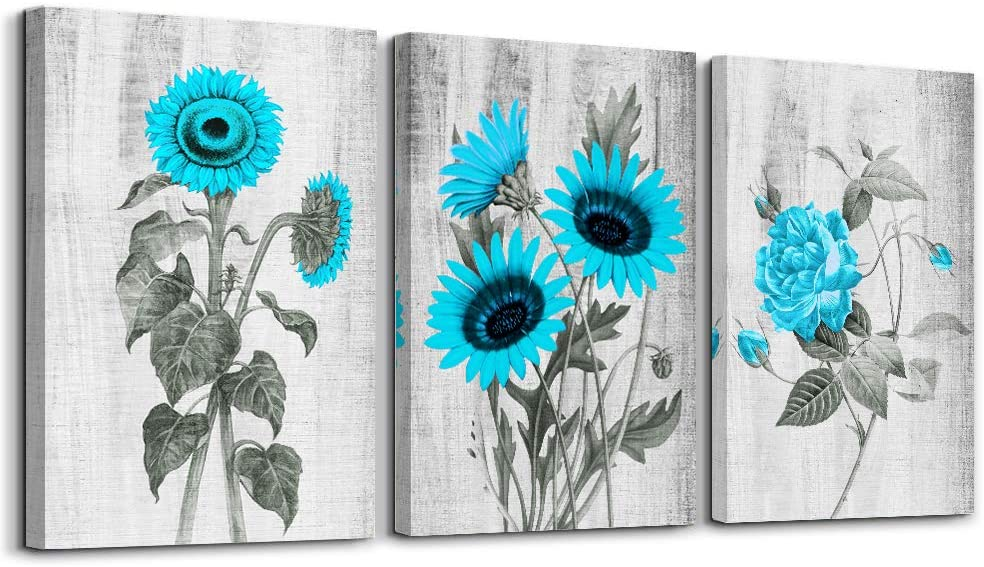 Black and white background blue sunflower Canvas Wall Art for Living Room,Wall Decorations for Bedroom,Bathroom Wall Decor 3 Panels flowers Wall Painting Watercolor,Modern Kitchen Home Decoration