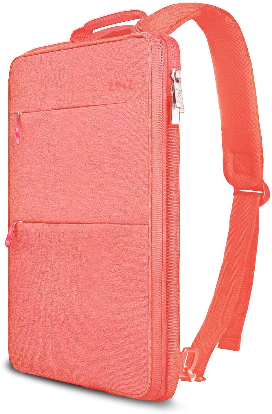 Slim & Expandable Laptop Backpack 15 15.6 16 Inch Sleeve with USB Port, Spill-Resistant Notebooks Bag Case for Most 14-16 Inch MacBooks Surface-Books Dell HP Lenovo Asus Computers, Pink