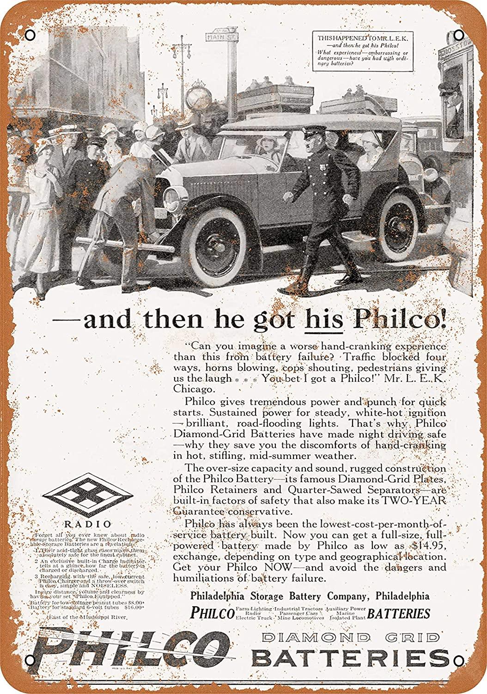Wall-Color 10 x 14 Metal Sign - 1924 Philco Diamond Grid Car Batteries - Vintage Look