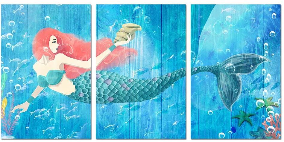 HOMEOART Mermaid Painting Blue Ocean Mermaid Pictures Bathroom Decor Giclee Prints Coral Starfish Wood Texture Background Seascape Artwork Home Wall Decor 16