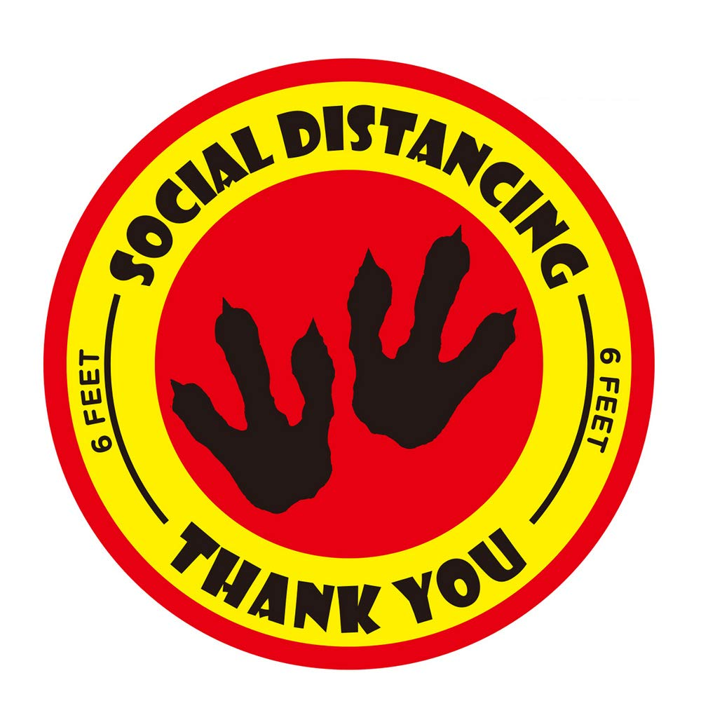 Social Distance Floor Stickers - 20 Pack 12 Inches Round Removable Waterproof Social Distancing Floor Decals for School,Grocery,Supermarket,Restaurant,Library,Bank (red Yellow)