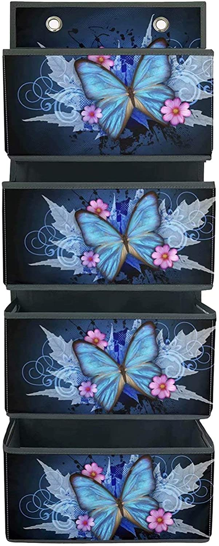 STUOARTE 4-Shelf Hanging Closet Organizer Box, Space Saver Closet Hanging Shelves Bins, Durable Wall Door Hanging Organizers, Blue Butterfly with Flowers