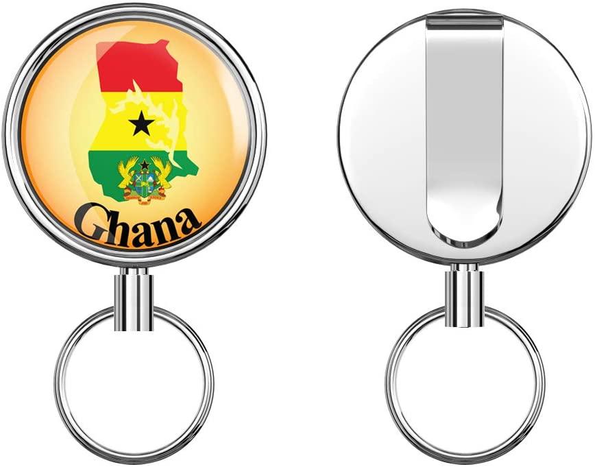Ghana Map Flag Label Retractable Badge Holder Reel Metal ID Badge Holder with Belt Clip Key Ring for Name Card Keychain