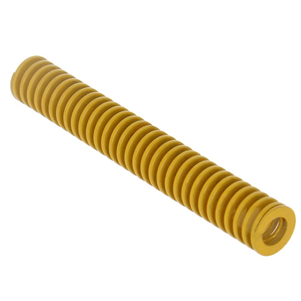 MroMax 10mm OD 70mm Long Spiral Stamping Light Load Compression Mould Die Spring Yellow 1PCS