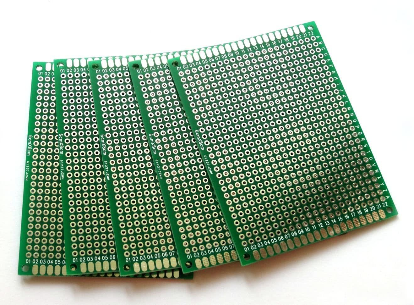 Penta Angel 10pcs Double-Side Prototype PCB Universal Printed Circuit Board Universal PCB Circuit Board (6x8cm)