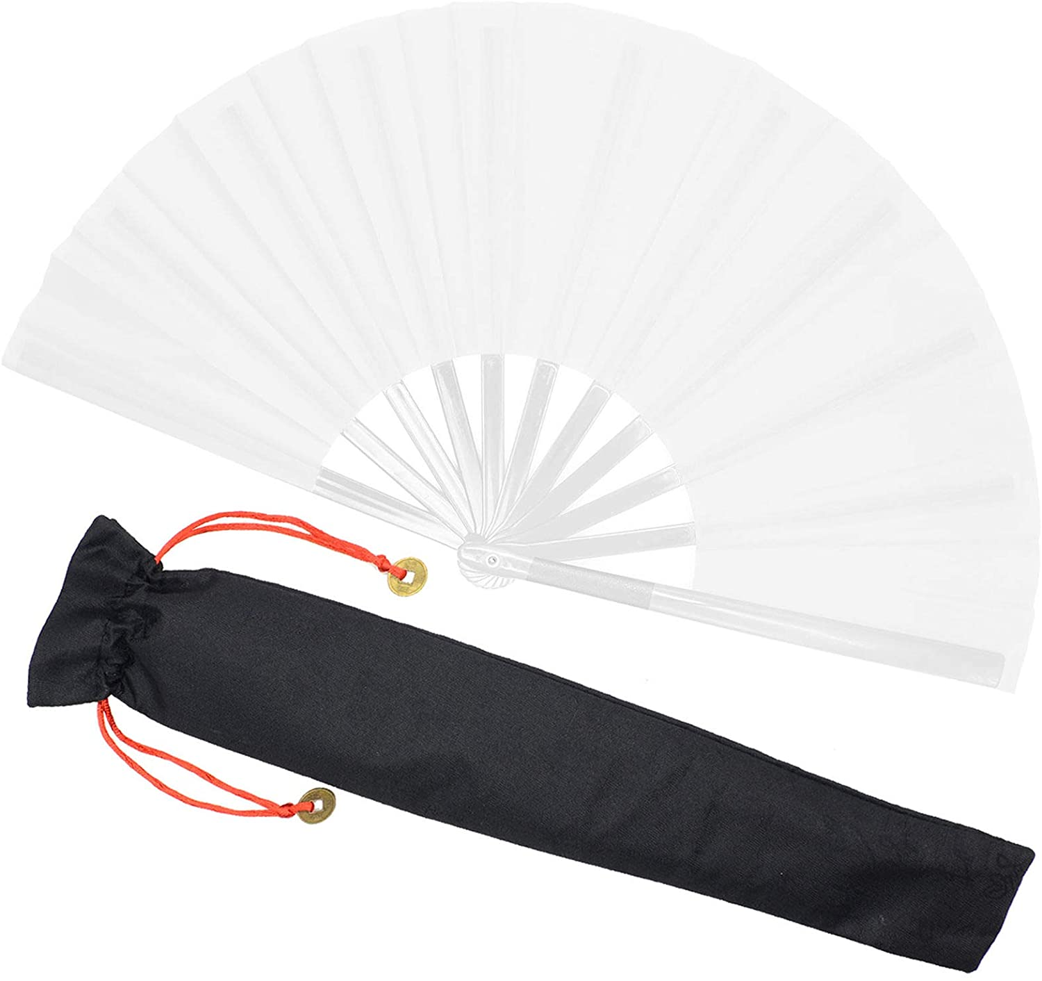 Zolee Large Rave Folding Hand Fan for Men/Women - Chinese Japanese Solid Kung Fu Tai Chi Handheld Fan with Fabric Case - for EDM, Music Festival, Club, Event, Party, Dance, Performance, Gift (White)