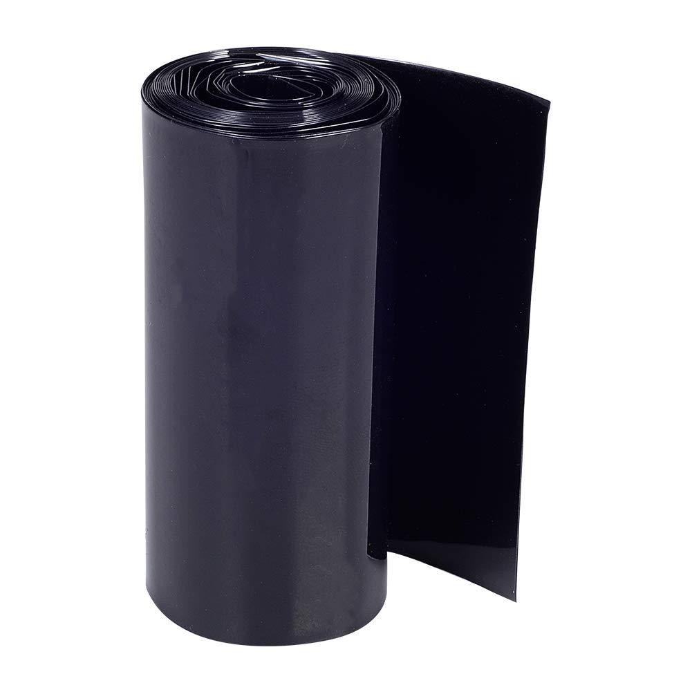 Othmro 70mm Flat Width 2m Length PVC Heat Shrink Tubing Black for 4×18650 Battery Pack