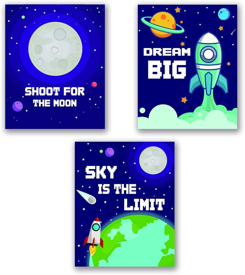 "Funny Outer Space Inspirational Quote Art Print, Cartoon Planet with Stars Rocket Wall Poster, Inspirational Typography Painting for Bedroom Nursery Classroom room Decor, Set of 3 (8""X10""), No Frame"