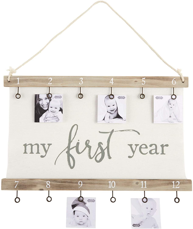 Mud Pie First Year Canvas Clip Frame, White