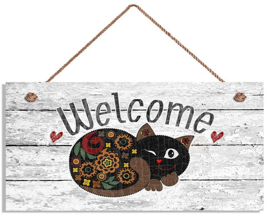 Welcome Hanging Door Sign Home Decor Wood Sign Cats Wood Sign Wall Art ,Welcome Sign, Whimsical Cat ,6