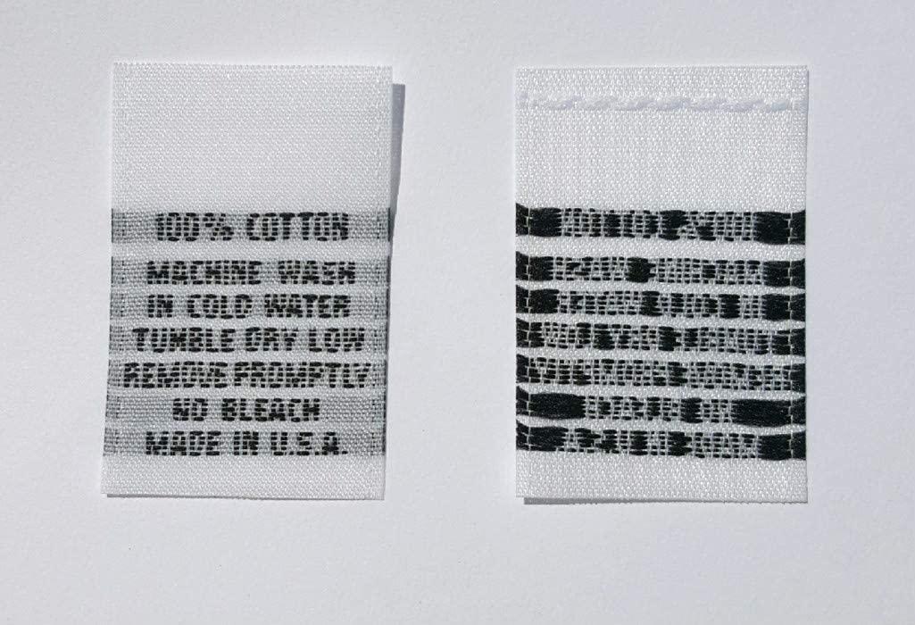 LOT OF 100 pcs WOVEN CLOTHING LABELS, CARE LABEL - 100% COTTON